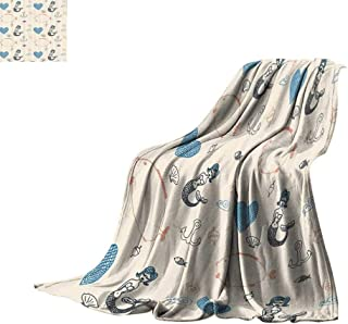 Luckyee Digital Printing Blanket Kids Decor,Mermaid Balloon Fish Hearts Sea Objects Print Artwork Bed or Couch 70