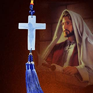 Lucky Safeness Catholic Glass Colored Glaze Jesus Cross Tassel Car Hanging Decoration, Dangling Ornaments Vehicle Accessory Rearview Mirror Charms Pendant Auto Interior Decoration Wall Hanging