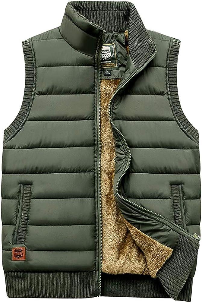 Vcansion Men's Outdoor Stand Collar Fleece Jacket Vest Casual Padded Vest Coats