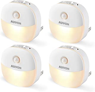 AUVON چراغ شب تاب حسگر حرکت LED ، چراغ روشنایی کوتاه مایع گرم سفید با سنسور غروب تا سپیده دم ، سنسور حرکت ، روشنایی قابل تنظیم برای اتاق خواب ، حمام ، آشپزخانه ، راهرو ، پله ها (4 بسته)