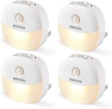 AUVON Plug-in LED Motion Sensor Night Light, Mini Warm White LED Nightlight with Dusk to Dawn Motion Sensor, Adjustable Brightness for Bedroom, Bathroom, Kitchen, Hallway, Stairs (4 Pack)