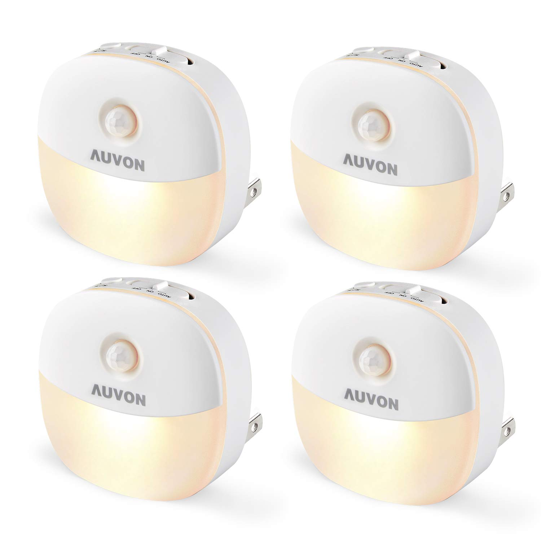 AUVON Plug-in LED Motion Sensor Night Light, Mini Warm White LED Nightlight with Dusk to Dawn Motion Sensor, Adjustable Br...