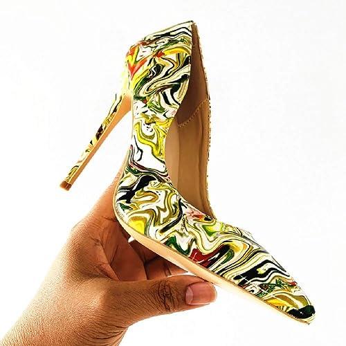 DDSHYNH Femmes Chaussures Stiletto 12cm   10cm   8cm Talons Hauts Femmes Pompes en Cuir Verni Bout Pointu Les Les dames De Mariage Chaussures De Femme