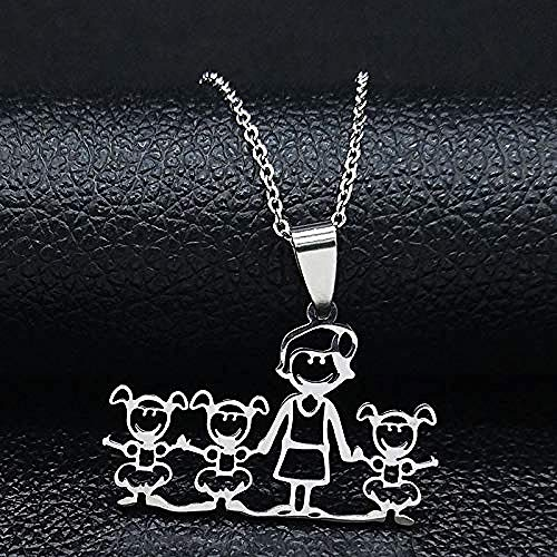 NC163 y Tres niñas Collar Familiar de Acero Inoxidable para Collares y Colgantes de Color Plata FR