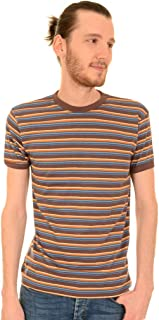 Run & Fly Mens 60's Indie Brown Retro Stripe Retro T Shirt