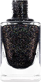 ILNP Silhouette - Rich Black Gold Flake Holographic Nail Polish