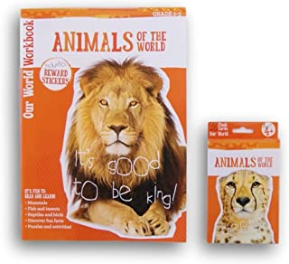 Animals Discovery Workbook with Reward Stickers and Flash Card Bundle - Grades 2-3