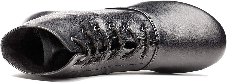 Joocare Mens Black Leather Split Sole Jazz Dance Boots Shoes