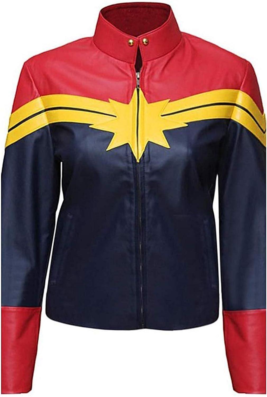 Alamodetrend Captain Marvel Carol Danvers Faux Leather Jacket bluee