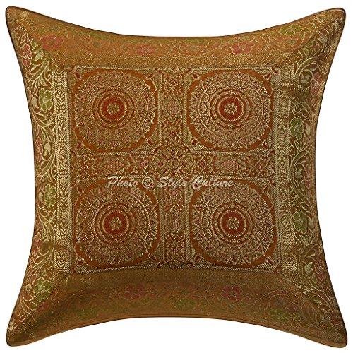Stylo Culture Baumwolle Traditionelle Kissenbezug Brokat Selbst Design 40 x 40 Zierkissenbezüge Gelbe Blumen Kissen Tasche