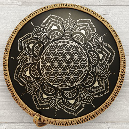 GUDA DRUM Freezbee Flower of Life with Rope Decoration and Perfect Travel Bag