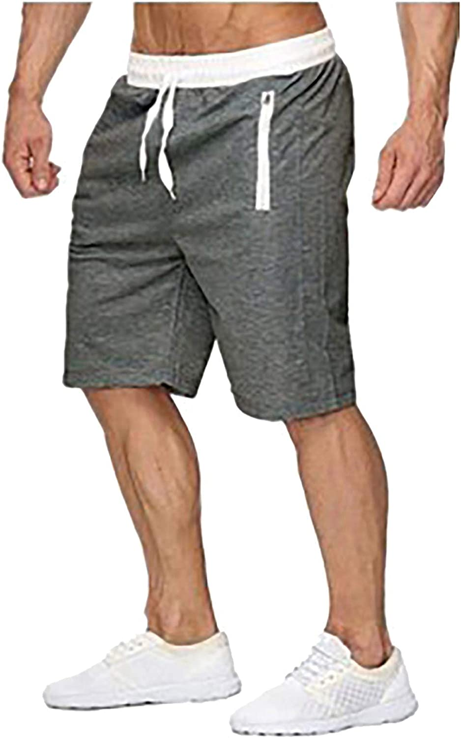 Yhjh Shorter Shorts for Men Solid Color Pockets Zippered Workout Fitness Athletic Gym Men's Jersey Shorts Gym Shorts
