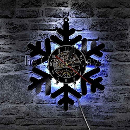 Lámpara de pared de vinilo con forma de copo de nieve con luz nocturna LED