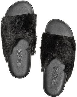 Victorias Secret PINK Faux-Fur Crisscross Slide, Pure Black, Large