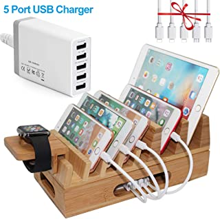 Pezin & Hulin Bamboo Charging Station Holder with 5 Port USB Charger, Watch Stand, 5 x Charge Cable, Wood Docking Stand Electronic Organizer for Multiple Devices, Phones, Tablets, Laptop and More