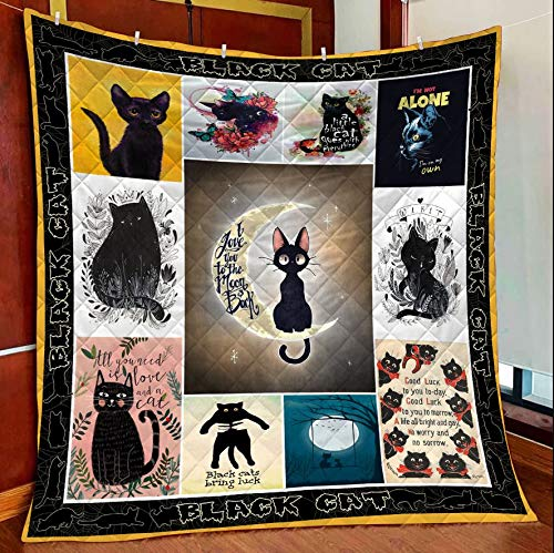 Amazing Black Cat Collection Frames All Season Quilts Blanket Comforters Super King - Queen - Twin Size - Best Decorative for Bed, Couch, Sofa, Chair, Swing, Daybed, Home Decor