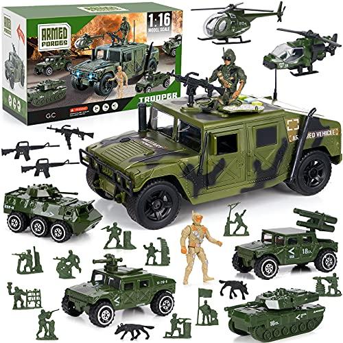 Toyssa 23 PZ Militare Giocattolo Camion Militare Modellini Giocattolo Set con Mini Elicottero, Carro Armato Giocattolo, Jeep, Veicolo Antiaereo, Soldatini Giocattoli, Regalo per Bambini Bambino