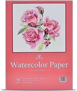 30 Sheets 9 X 12 Watercolor Pad (140lb/300gsm) Fold Over Design Cold Press Watercolor Paper