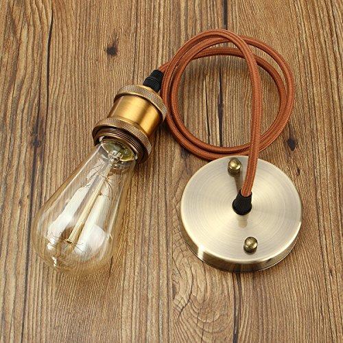 KINGSO E27 Hängelampe Kupfer Vintage Lampenfassung Retro Edison Pendelleuchte industrie lampenaufhängung deckenrosette Halter Lampe metall Messing matt (Leuchtmittel nicht inklusiv)