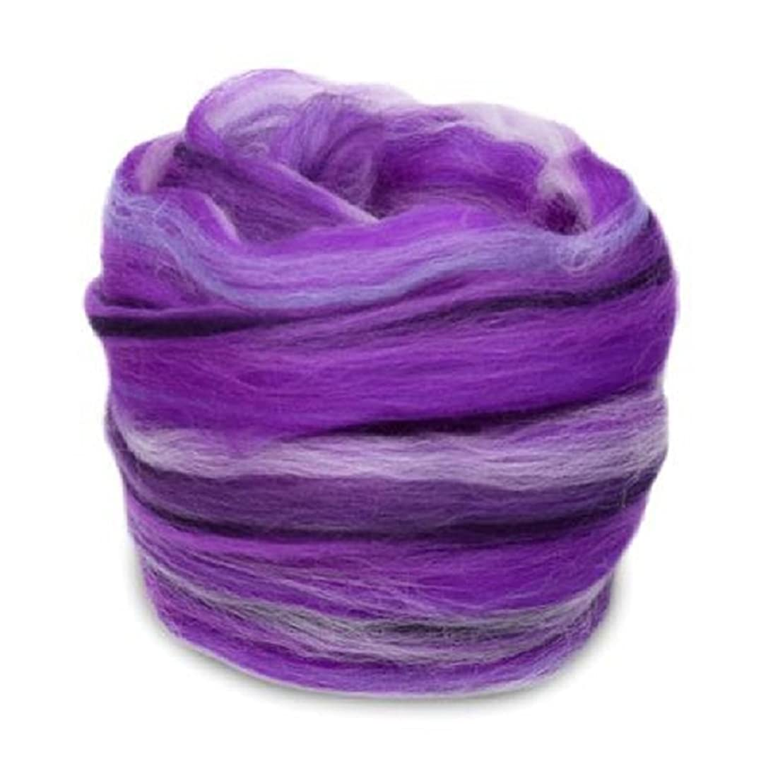 4 oz. Paradise Fibers Ultra Violet Multi Colored Merino Wool Top - Highest Quality Spinning Fiber Luxuriously Soft Wool Top Roving drafted for Spinning, Felting, Blending and Weaving