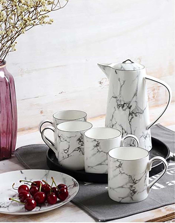European Service Set , Tall Teapot&Teacups Ceramic Tea Set,Heat-resistant Explosion-proof Porcelain Tea Set Coffee Set,Afternoon Tea Home Living Room Leisure,White ( PATTERN   2 , Size   1 kettle 6 cups 1 pallets )