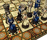 """Medieval Times Crusades Warrior Chess Set Blue & White Maltese Cross with 17"""" Mosaic Design Board"""