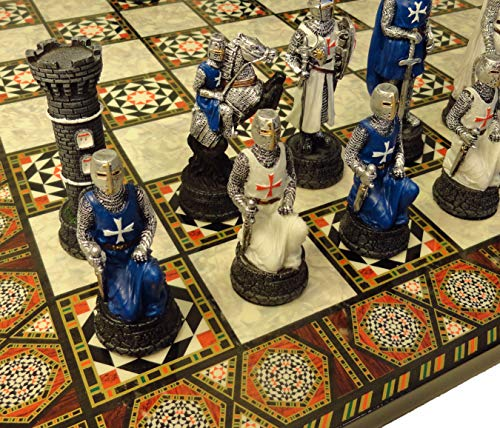 """HPL Medieval Times Crusades Warrior Chess Set Blue & White Maltese Cross with 17"""" Mosaic Design Board"""