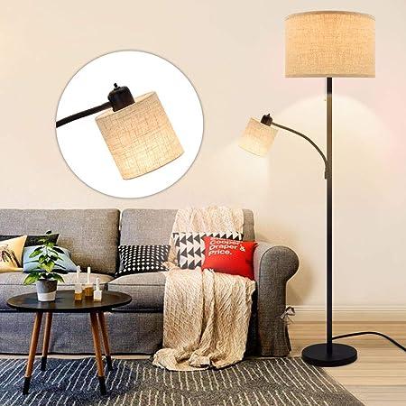 Depuley E27 Lampadaire Chambre Abat-jour avec Liseuse de Lecture, Lampe sur Pied Salon Moderne en Métal Noir, Design Classique pour Chambre à Coucher, Hauteur de 176 cm - Ampoules 9W+5W Fournies