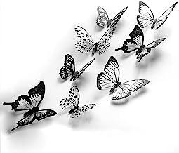 48 piezas 3D mariposa decoración de cristal pegatinas de pared decoración calcomanías de pared