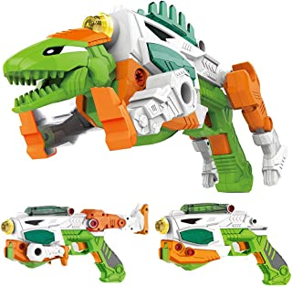 Liberty Imports 3-in-1 Dinoblaster Transforming Dinosaur Gun Engineering Take Apart Toy Tool Kit with Lights and Sound (Stegosaurus)