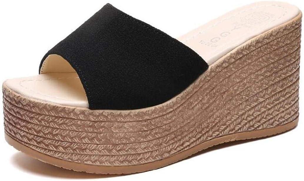 ChyJoey Women's Chunky Platform Wedge Sandals Slip On Suede Open Toe Summer Casual High Heel Slides Sandal