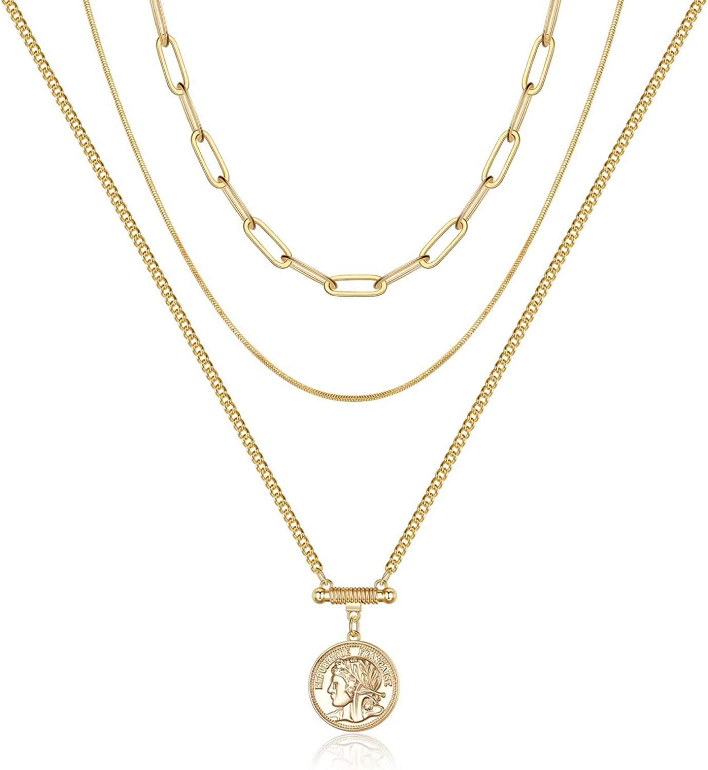 Layered Gold Coin Necklaces for Women, 14K Gold Plated Coin Pendant Vintage Medallion Necklace Heart Crescent Rope Chain Herringbone Snake Cuban Paperclip Chain Coin Necklaces for Women Jewelry