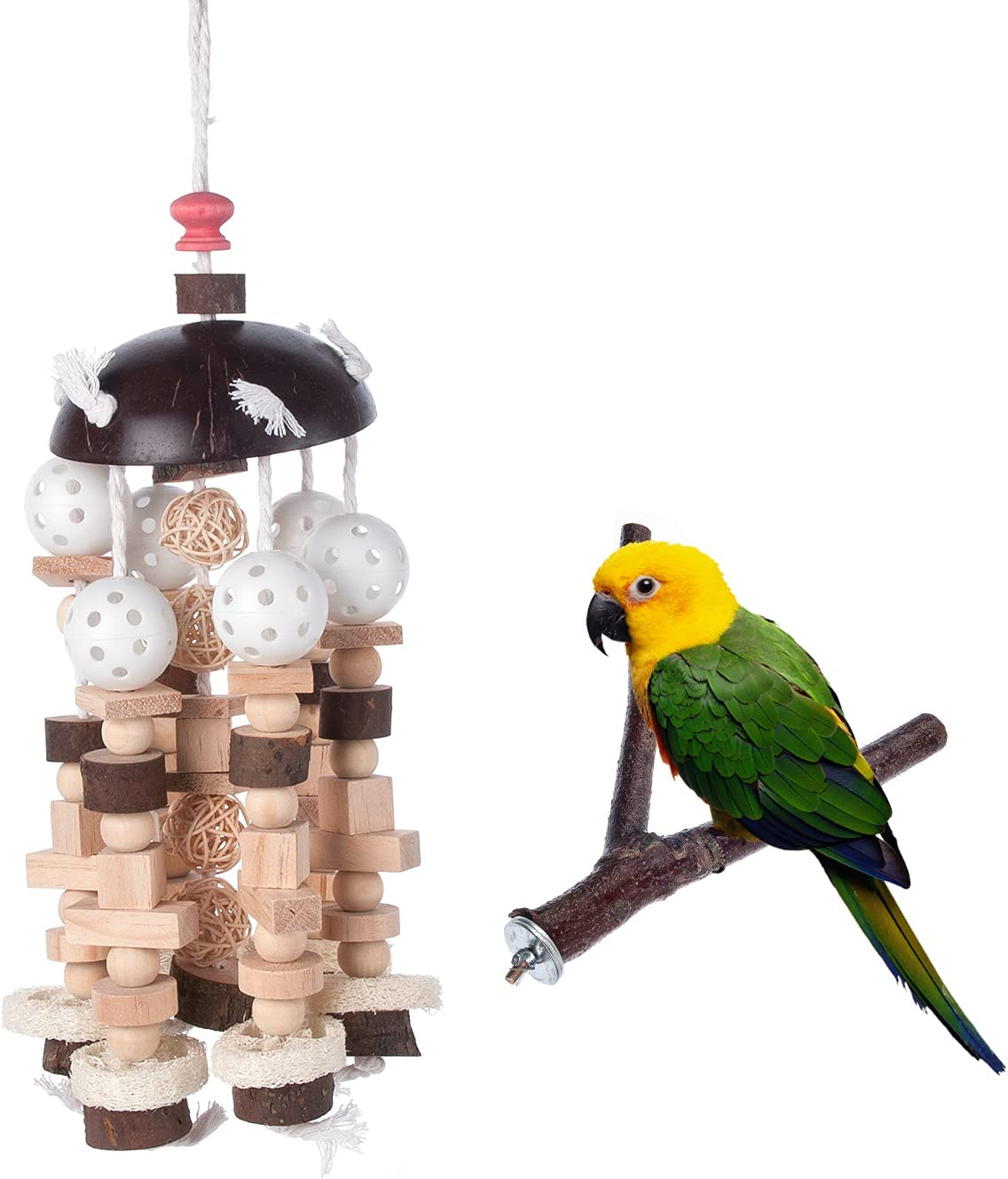 Bird Block Knots Tearing Toy Natural - Wooden Parrot Blocks Challenge Columbus Mall the lowest price