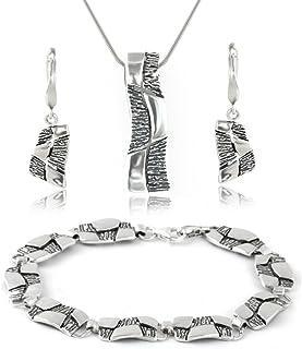 Schmuckset Bändchengarn Viskose Ohrhänger Kette Armband 925er Sterling Silber
