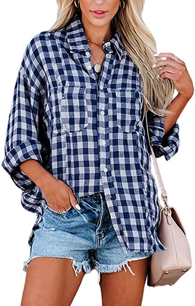 Women's Plaid Button Down Shirt Casual Classic Long Sleeve Blouse Tee Shirt with Bust Pockets