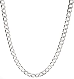 Solid 925 Sterling Silver Men's Heavy Italian 8mm Cuban Curb Link Chain Necklace 16