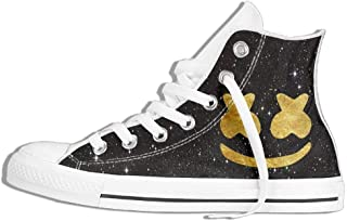 HuNa-Store Golden Marshmello DJ Unisex 3D Printing High-top Classic Canvas Shoes Fashion Sneaker