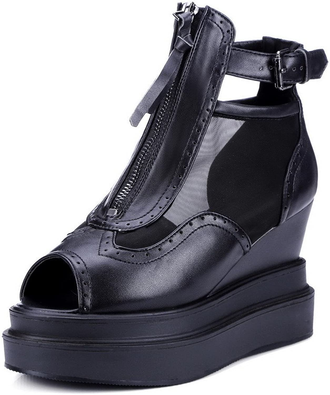 AmoonyFashion Women's Soft Material Peep Toe High Heels Zipper Solid Sandals
