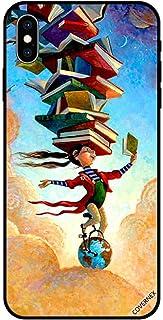 حافظة واقية لجهاز آبل آيفون XS ماكس كفر حماية فتاة على الكرة الأرضية مع كتب