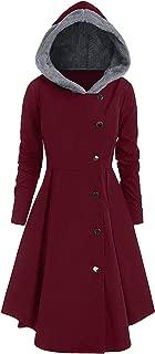 High end Trendy Asymmetric Fleece Contrast Hooded Skirted Coat Women Winter Coats Outerwear Tops