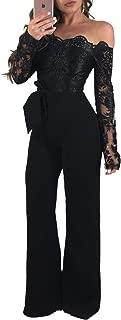 Kearia Women Off Shoulder Jumpsuits Floral Lace Long Sleeve Wide Leg Pants Romper with Belt