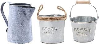 Perfk 3 Piece Vintage Rustic Metal Galvanised Flower Pots Garden Yard Planters Buckets