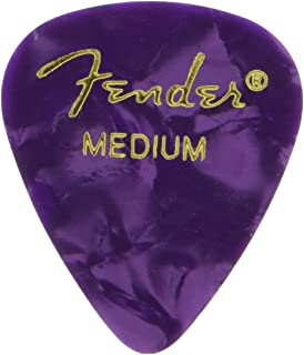 Fender 351 Shape Medium Classic Celluloid Picks, 12-Pack, Purple Moto for electric guitar, acoustic guitar, mandolin, and bass