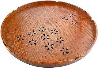 HOMYL Round Wooden Serving Tray Food Fruit Tea Coffee Platter Plate - Tawny 27x2cm