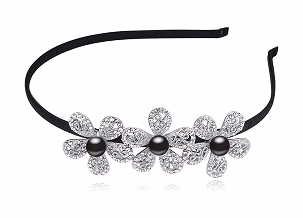 Women's Wedding Crystal Bridal Flower & Leaves Tiara Headdress Crown Headband Black