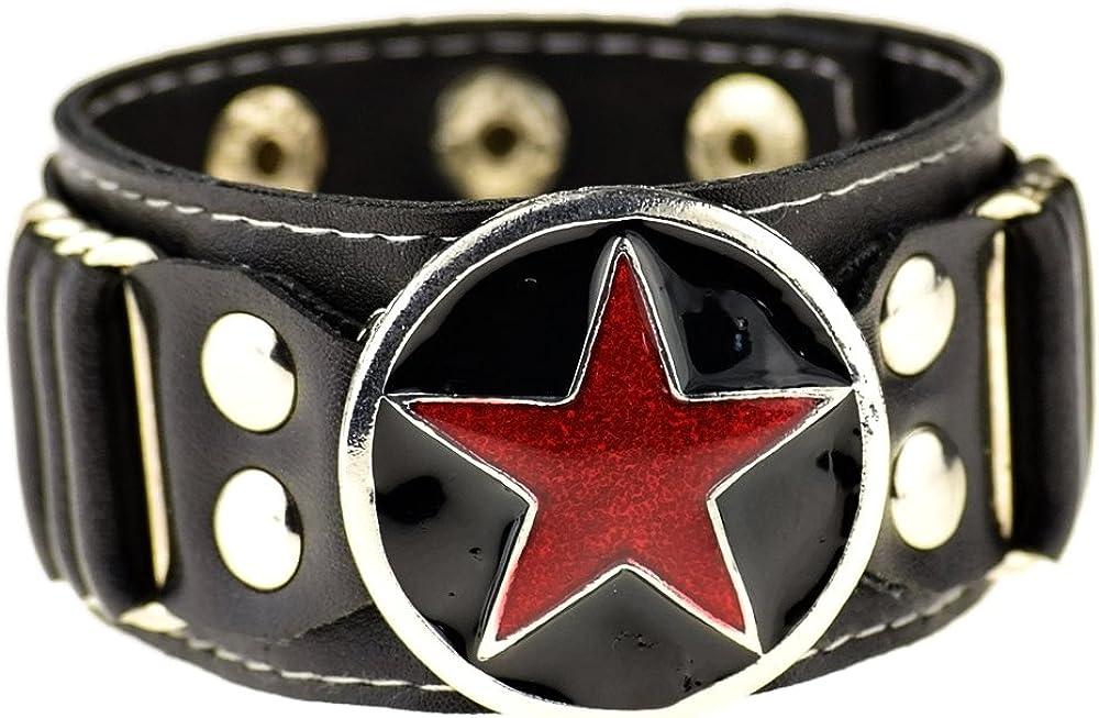 Bling Cartel Red Star Black Faux Leather Studded Goth Punk Rock Wide Adjustable Cuff Bracelet