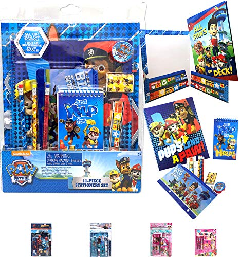 Paw Patrol School Essential All-in-One Stationery Giant Gift Set - Folder, Notebook, Notepad, Pencils, Sharpener, Eraser, Pencil Case for Kids Boys Girls Study School Supplies Goodies Birthday