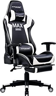 GTRACING Gaming Chair for PC Racing Gamer Chair High Back Adjustable Game Chair Larger Size Adult Computer Gaming Chair with Footrest Armrest Adjustable Lumbar Support Ergonomic Design White