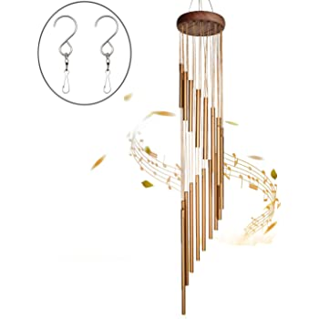 SuninYo Wind Chimes Outdoor,36 inches Wind Chimes with S Hook,a Quality Gift for Garden, Patio, Balcony and Indoor Decor(18 Tubes,Golden)