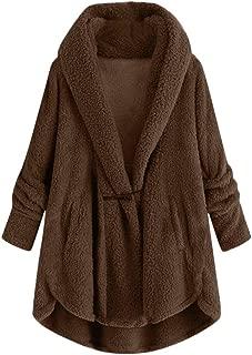 DAGE🍒 Women Hoodie Sweater Fleece Asymmetrical Hem Pullover Plus Size Sweatshirt Button EcoSmart Plush Robe Drape Coat